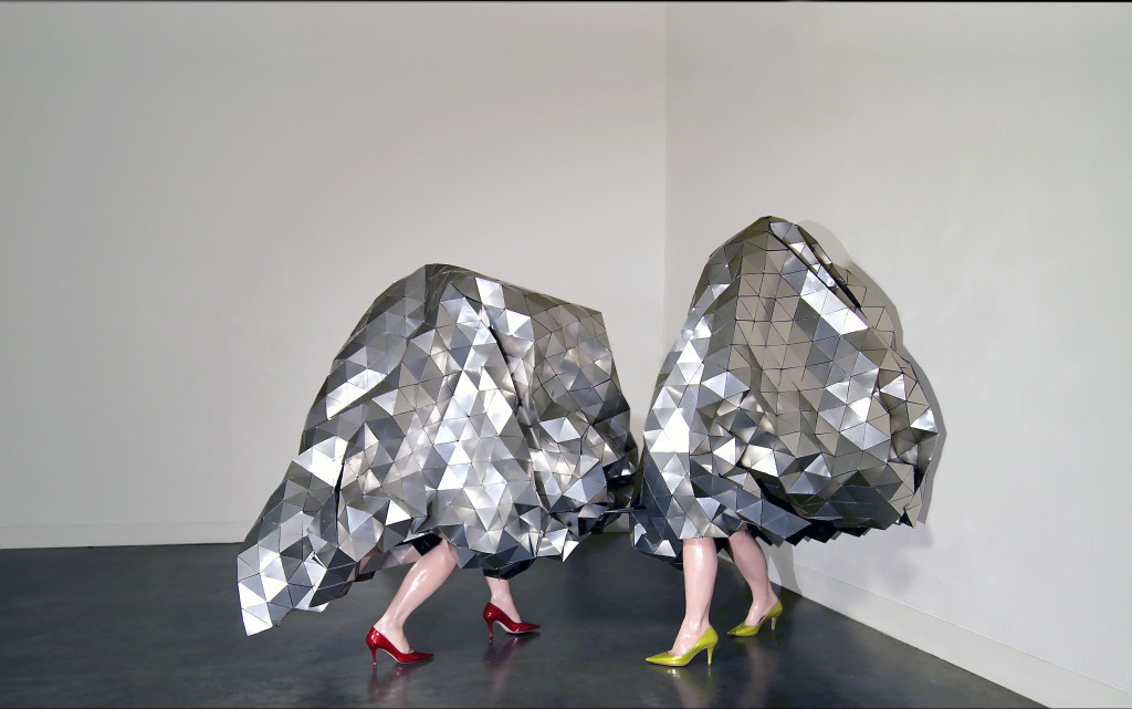 "The Gleamer Dueling, 2012 / 2015. Aluminum, organza, adhesive, steel, wax legs, Italian leather shoes, 61"" x 37"" x 37"" & 61"" x 48"" x 35"""