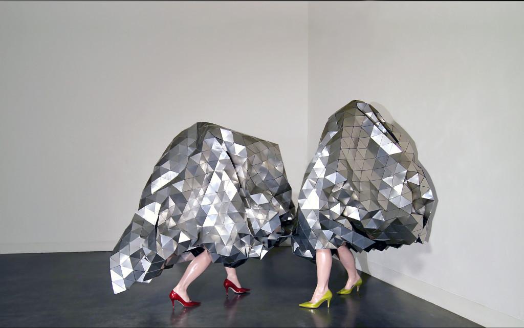 "The Gleamer Dueling, 2012 / 2015. Aluminum, organza, adhesive, steel, wax legs, Italian leather shoes, 61"" x 37"" x 37"" & 61"" x 48"" x 35"""